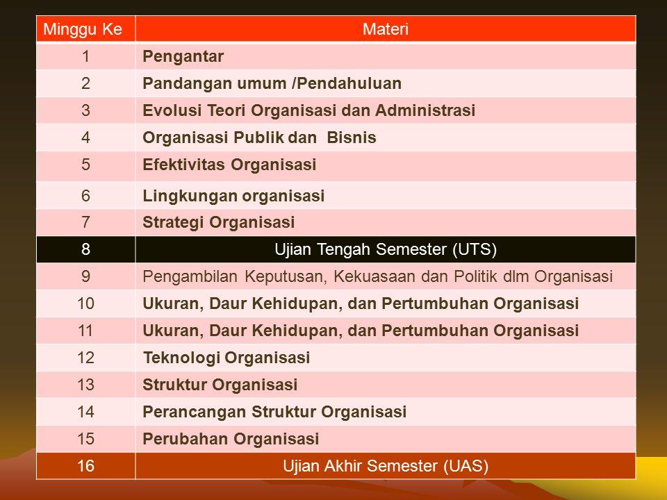 REFERENSI Utama Kusdi, 2009, Teori Organisasi dan Administrasi, Penerbit Salemba, Jakarta.