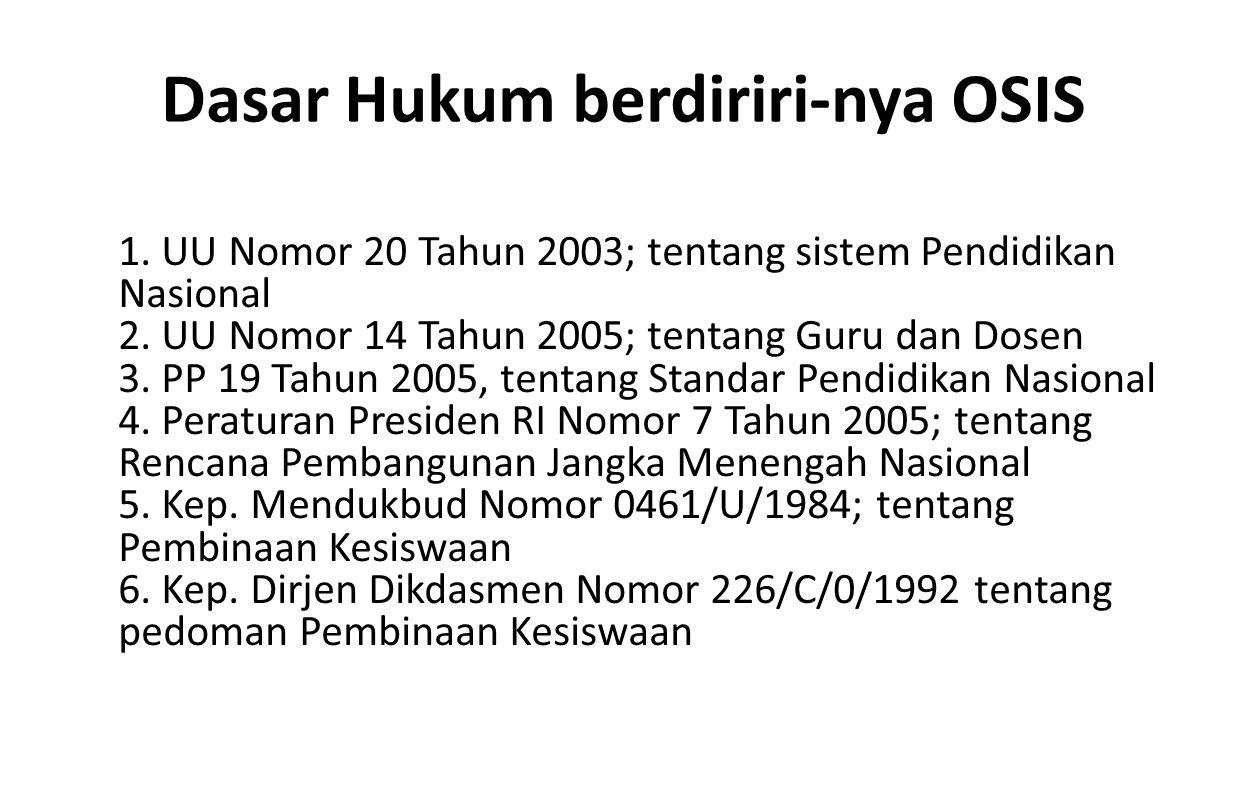 Dasar Hukum berdiriri-nya OSIS 1. UU Nomor 20 Tahun 2003; tentang sistem Pendidikan Nasional 2. UU Nomor 14 Tahun 2005; tentang Guru dan Dosen 3. PP 1