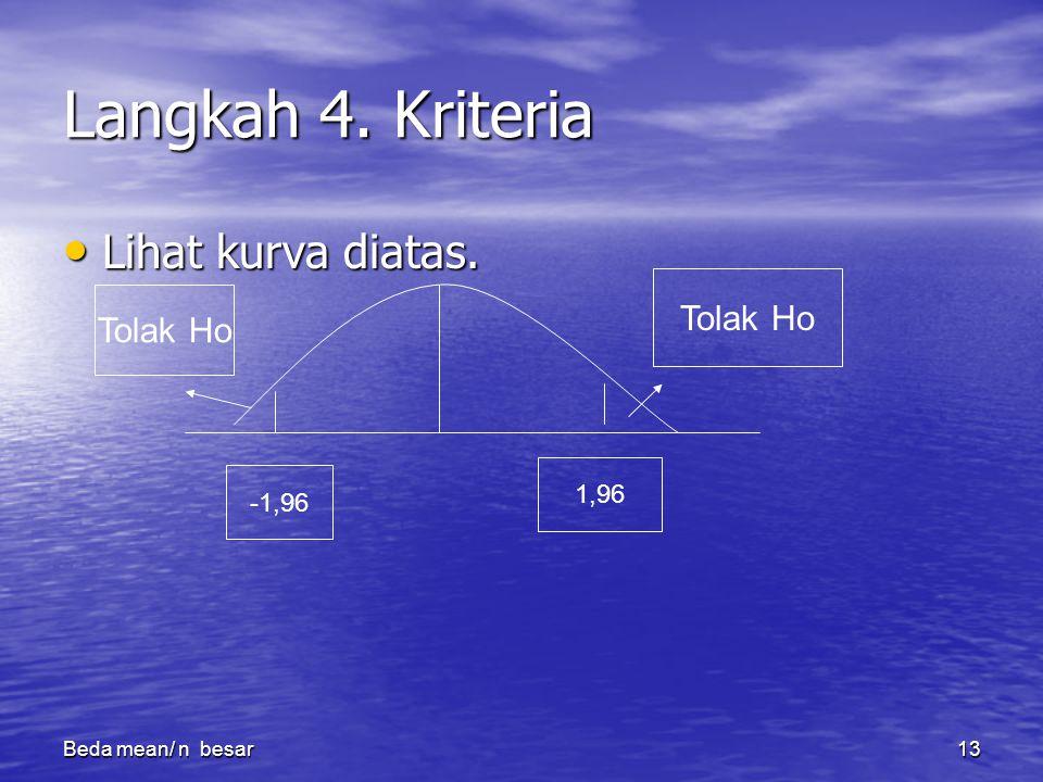 Beda mean/ n besar13 Langkah 4.Kriteria Lihat kurva diatas.