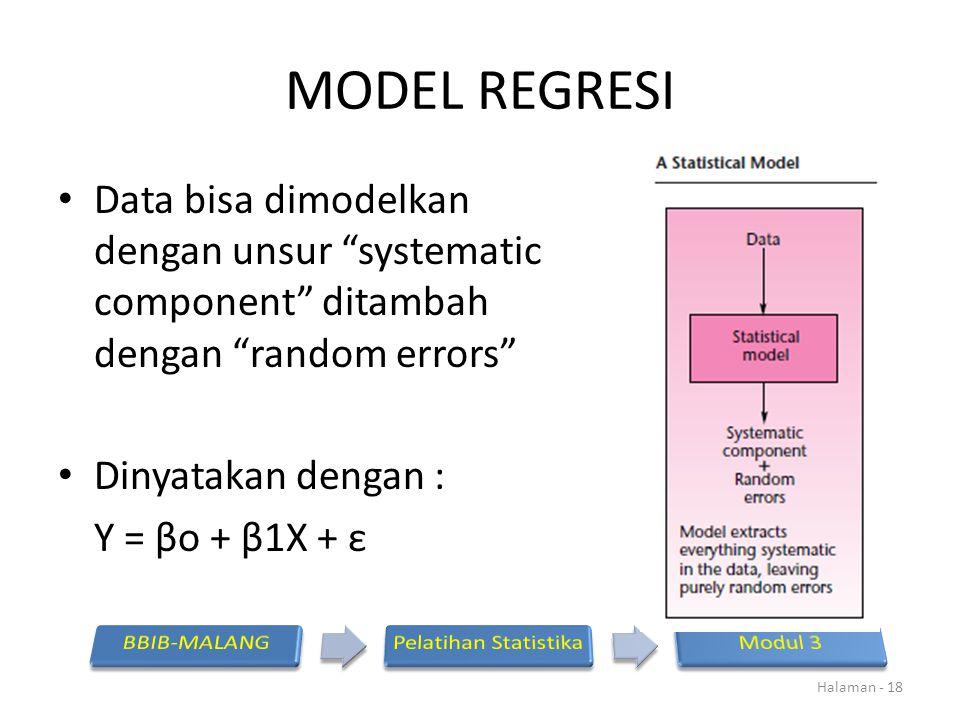 """MODEL REGRESI Data bisa dimodelkan dengan unsur """"systematic component"""" ditambah dengan """"random errors"""" Dinyatakan dengan : Y = βo + β1X + ε Halaman -"""
