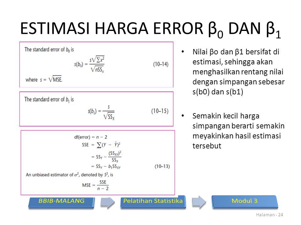 ESTIMASI HARGA ERROR β 0 DAN β 1 Nilai βo dan β1 bersifat di estimasi, sehingga akan menghasilkan rentang nilai dengan simpangan sebesar s(b0) dan s(b