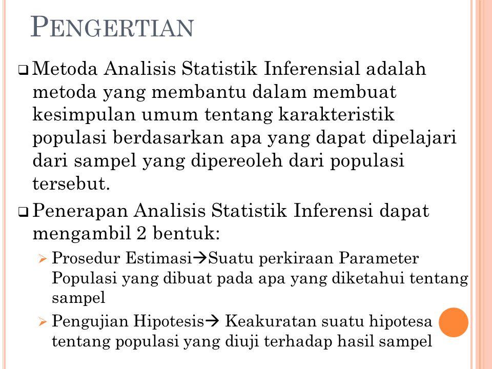 P ENGERTIAN  Metoda Analisis Statistik Inferensial adalah metoda yang membantu dalam membuat kesimpulan umum tentang karakteristik populasi berdasark