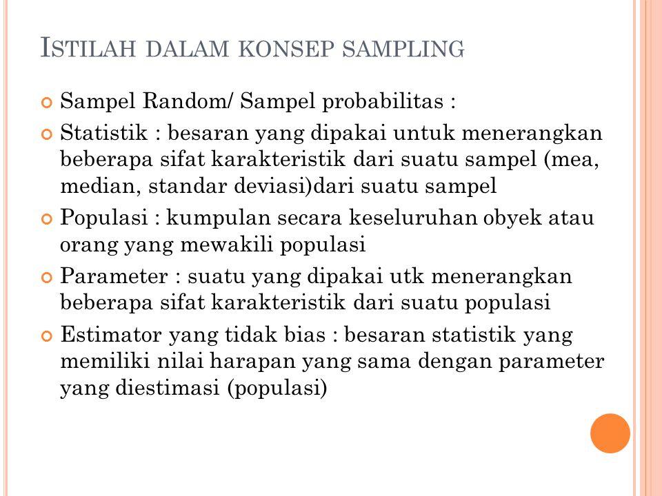 I STILAH DALAM KONSEP SAMPLING Sampel Random/ Sampel probabilitas : Statistik : besaran yang dipakai untuk menerangkan beberapa sifat karakteristik da