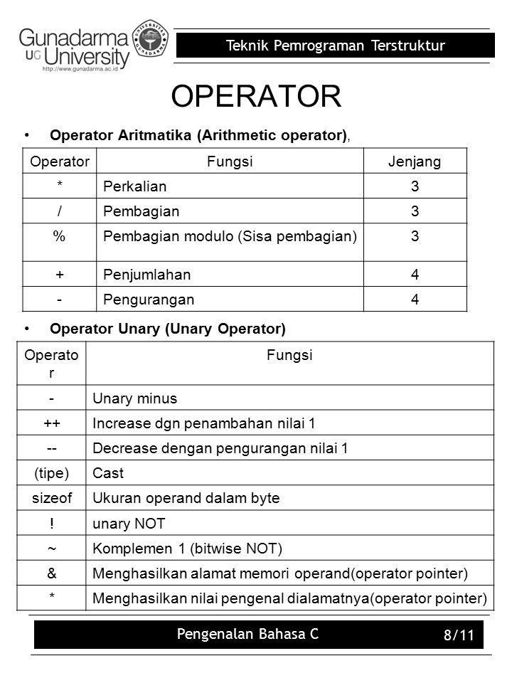 Teknik Pemrograman Terstruktur Pengenalan Bahasa C 8/11 OPERATOR Operator Aritmatika (Arithmetic operator), Operator Unary (Unary Operator) OperatorFungsiJenjang *Perkalian3 /Pembagian3 %Pembagian modulo (Sisa pembagian)3 +Penjumlahan4 -Pengurangan4 Operato r Fungsi -Unary minus ++Increase dgn penambahan nilai 1 --Decrease dengan pengurangan nilai 1 (tipe)Cast sizeofUkuran operand dalam byte !unary NOT ~Komplemen 1 (bitwise NOT) &Menghasilkan alamat memori operand(operator pointer) *Menghasilkan nilai pengenal dialamatnya(operator pointer)