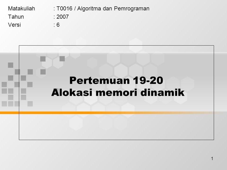 1 Pertemuan 19-20 Alokasi memori dinamik Matakuliah: T0016 / Algoritma dan Pemrograman Tahun: 2007 Versi: 6