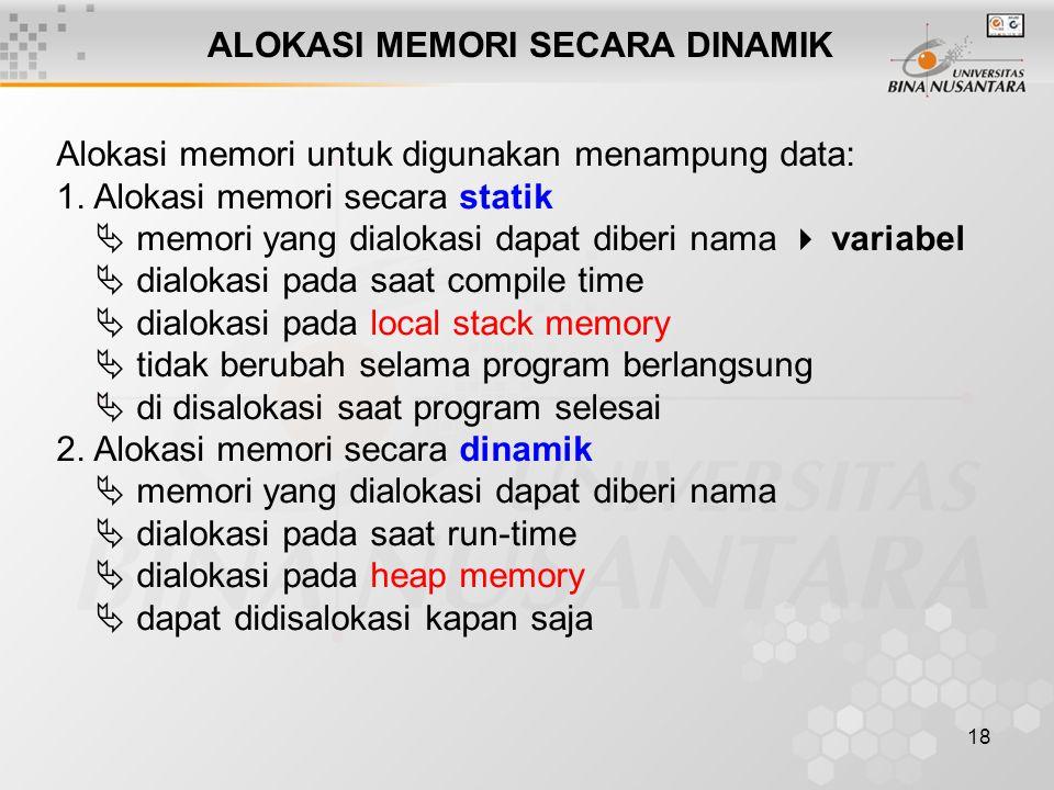 18 ALOKASI MEMORI SECARA DINAMIK Alokasi memori untuk digunakan menampung data: 1. Alokasi memori secara statik  memori yang dialokasi dapat diberi n