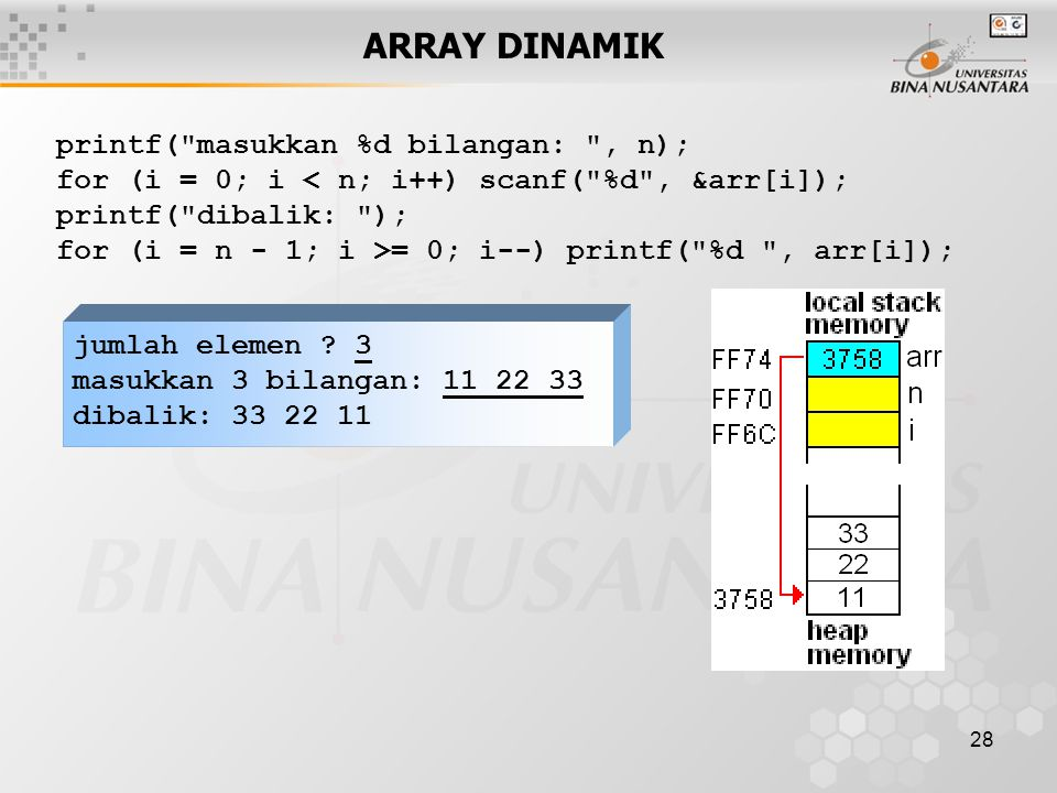 28 ARRAY DINAMIK jumlah elemen .