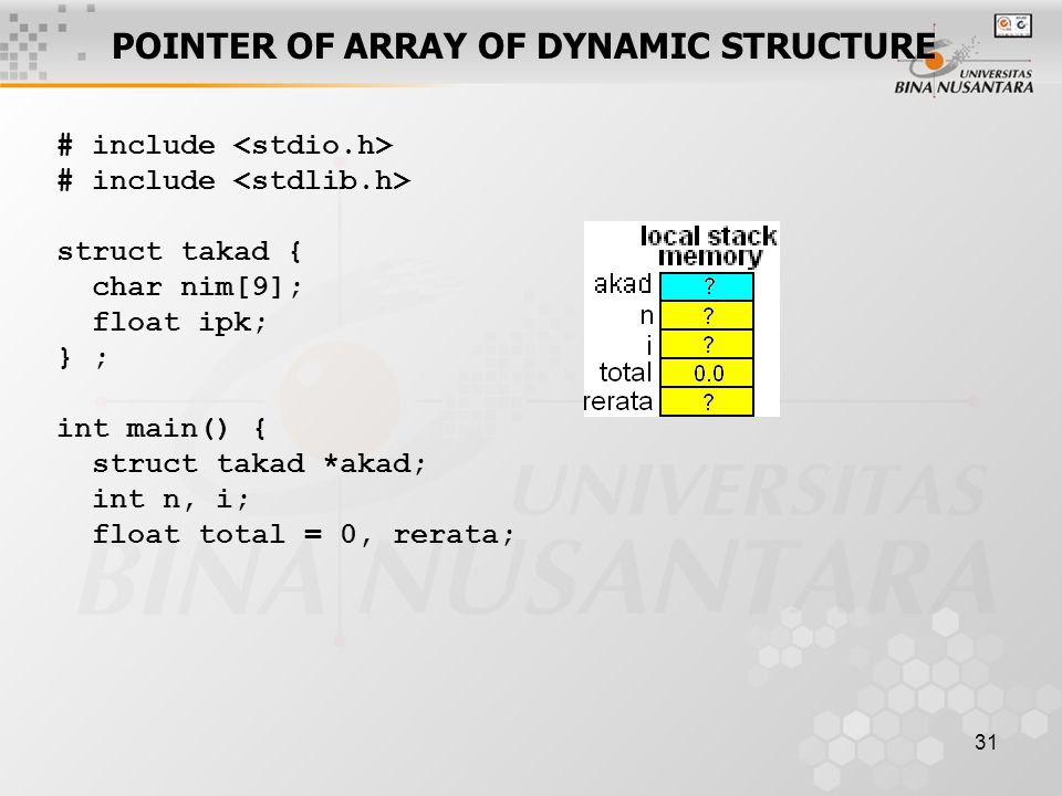 31 POINTER OF ARRAY OF DYNAMIC STRUCTURE # include struct takad { char nim[9]; float ipk; } ; int main() { struct takad *akad; int n, i; float total = 0, rerata;