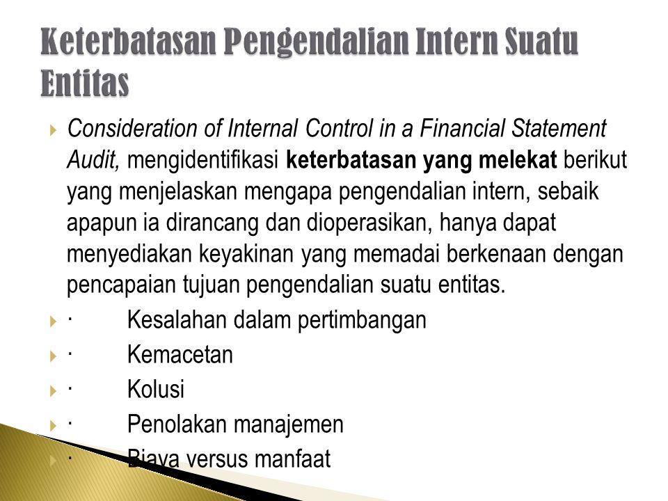 Consideration of Internal Control in a Financial Statement Audit, mengidentifikasi keterbatasan yang melekat berikut yang menjelaskan mengapa pengendalian intern, sebaik apapun ia dirancang dan dioperasikan, hanya dapat menyediakan keyakinan yang memadai berkenaan dengan pencapaian tujuan pengendalian suatu entitas.