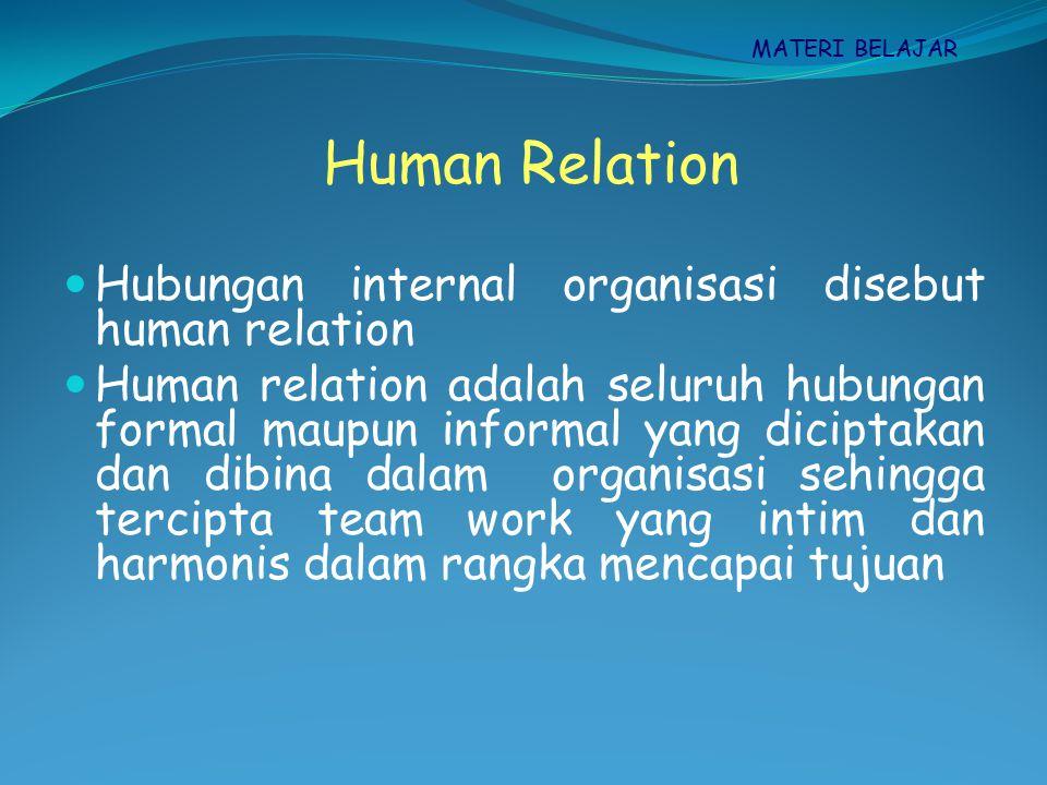 MATERI BELAJAR Prinsip-prinsip Human Relation Sinkronisasi tujuan individu dan organisasi Suasana kerja menyenangkan, ada hubungan kerja yang intim Pekerjaan menarik dan menantang, tidak bersifat rutinitas Peralatan cukup sehingga tidak terjadi kelambatan