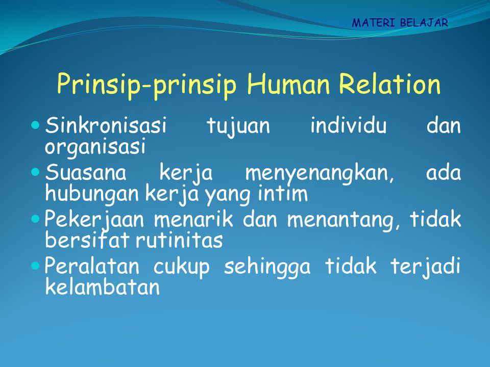 Hubungan kerja informal wajar, tidak terlalu formal/informal Manusia bukan mesin, perlu pengakuan dan penghargaan Mengembangnkan kemampuan secara maksimal Jumlah imbalan sesuai jasa yang diberikan The right man in the right place Prinsip-prinsip Human Relation