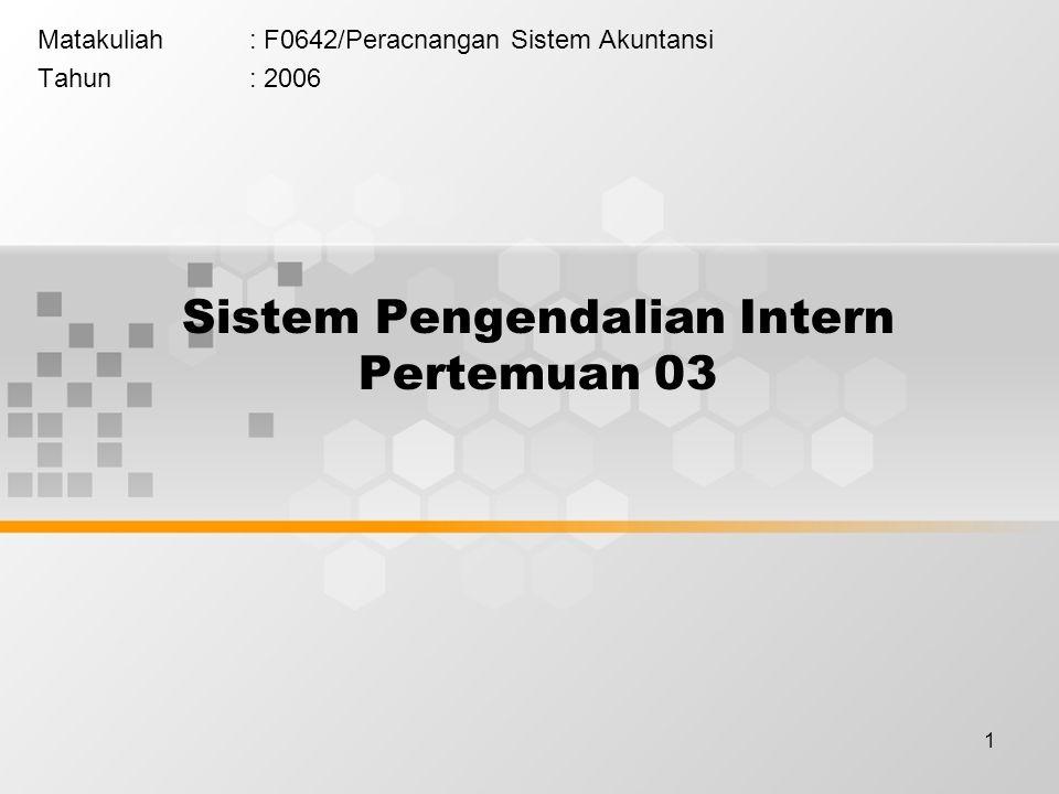 2 Sistem Pengendalian Intern Sistem pengendalian intern meliputi struktur organisasi, metode dan ukuran-ukuran yang dikoordinasikan untuk menjaga kekayaan organisasi, mengecek ketelitian dan keandalan data akuntansi, mendorong efisiensi dan mendorong dipatuhinya kebijakan manajemen