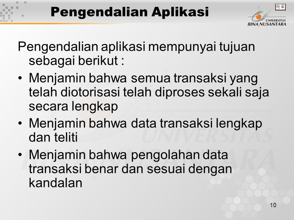 10 Pengendalian Aplikasi Pengendalian aplikasi mempunyai tujuan sebagai berikut : Menjamin bahwa semua transaksi yang telah diotorisasi telah diproses sekali saja secara lengkap Menjamin bahwa data transaksi lengkap dan teliti Menjamin bahwa pengolahan data transaksi benar dan sesuai dengan kandalan