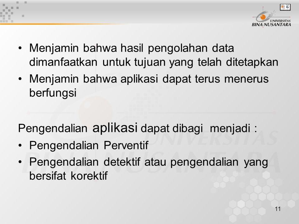 11 Menjamin bahwa hasil pengolahan data dimanfaatkan untuk tujuan yang telah ditetapkan Menjamin bahwa aplikasi dapat terus menerus berfungsi Pengenda
