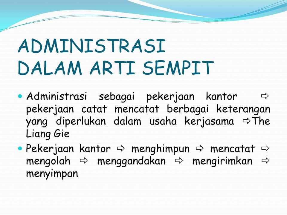 ADMINISTRASI DALAM ARTI SEMPIT Administrasi sebagai pekerjaan kantor  pekerjaan catat mencatat berbagai keterangan yang diperlukan dalam usaha kerjas