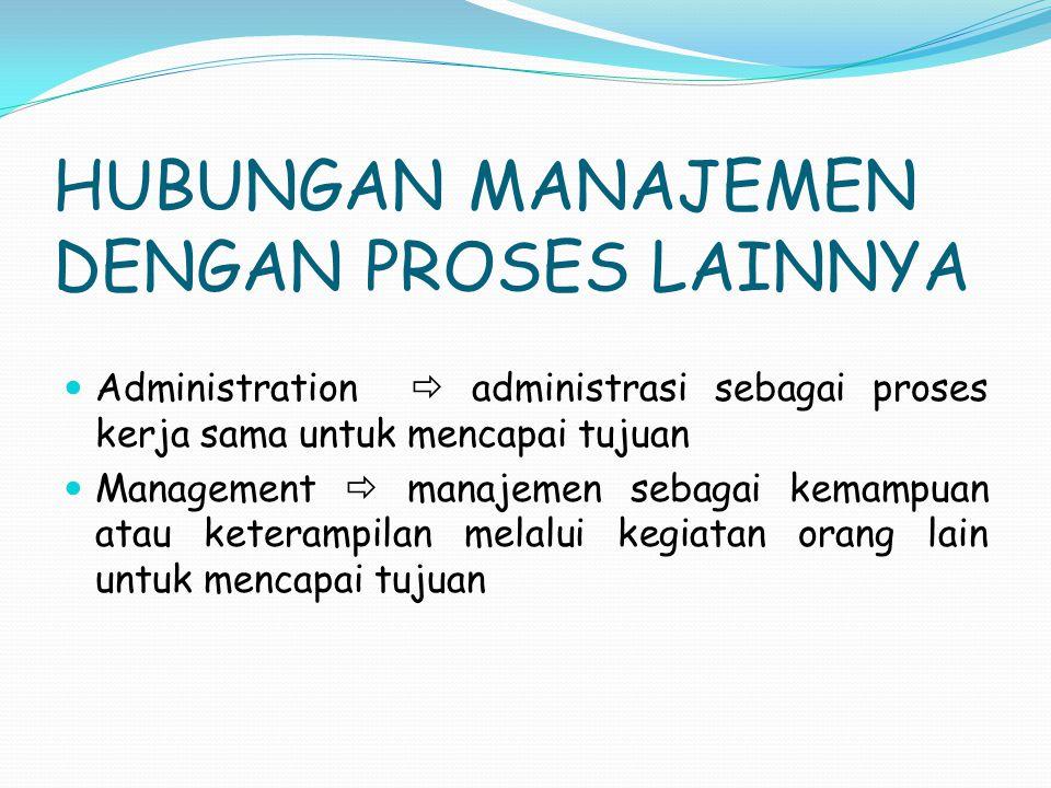 HUBUNGAN MANAJEMEN DENGAN PROSES LAINNYA Administration  administrasi sebagai proses kerja sama untuk mencapai tujuan Management  manajemen sebagai