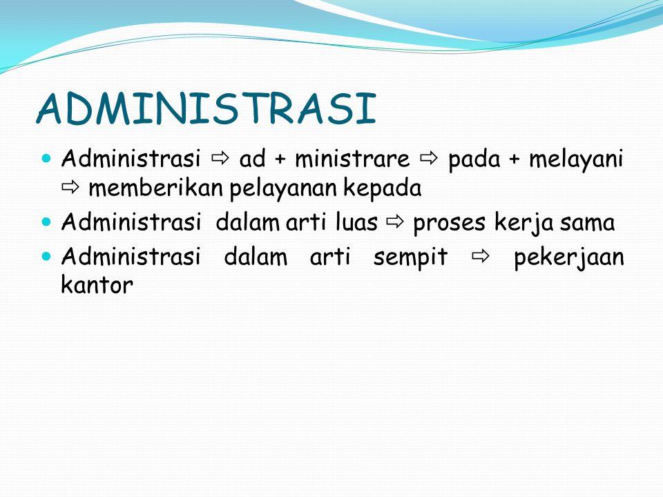 ADMINISTRASI Administrasi  ad + ministrare  pada + melayani  memberikan pelayanan kepada Administrasi dalam arti luas  proses kerja sama Administr