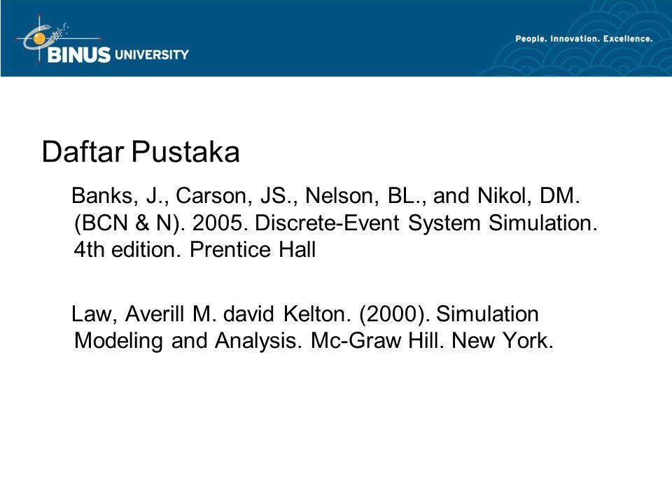Daftar Pustaka Banks, J., Carson, JS., Nelson, BL., and Nikol, DM.