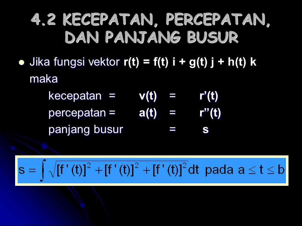 4.2 KECEPATAN, PERCEPATAN, DAN PANJANG BUSUR Jika fungsi vektor Jika fungsi vektor r(t) = f(t) i + g(t) j + h(t) kmaka kecepatan=v(t)=r'(t) percepatan