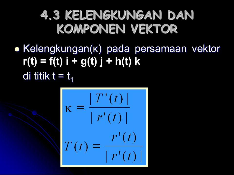 4.3 KELENGKUNGAN DAN KOMPONEN VEKTOR Kelengkungan(κ) pada persamaan vektor Kelengkungan(κ) pada persamaan vektor r(t) = f(t) i + g(t) j + h(t) k di ti