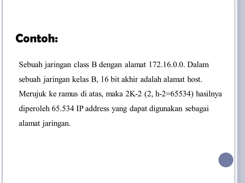 Sebuah jaringan class B dengan alamat 172.16.0.0. Dalam sebuah jaringan kelas B, 16 bit akhir adalah alamat host. Merujuk ke ramus di atas, maka 2K-2