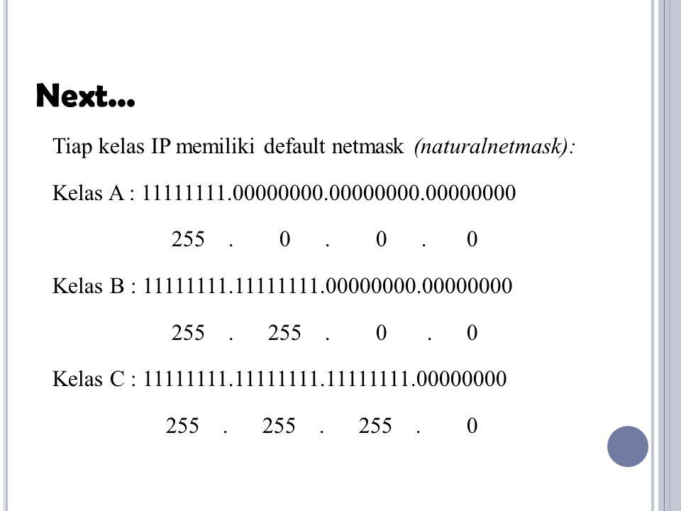Tiap kelas IP memiliki default netmask (naturalnetmask): Kelas A : 11111111.00000000.00000000.00000000 255. 0. 0. 0 Kelas B : 11111111.11111111.000000
