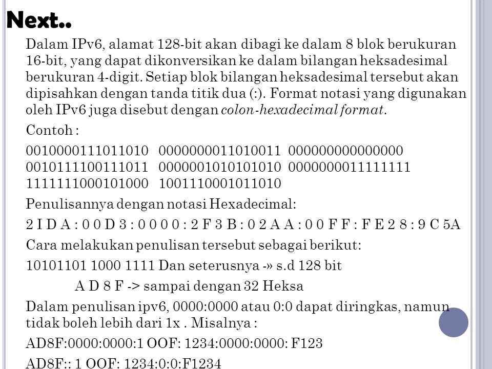 Dalam IPv6, alamat 128-bit akan dibagi ke dalam 8 blok berukuran 16-bit, yang dapat dikonversikan ke dalam bilangan heksadesimal berukuran 4-digit. Se