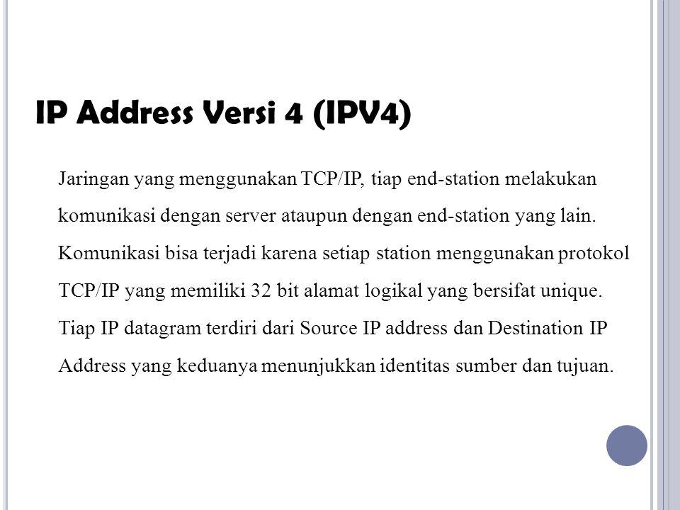 IP address merupakan pengalamatan dengan panjang 32 bit yang terbagi dalam 2 bagian yaitu: 1.
