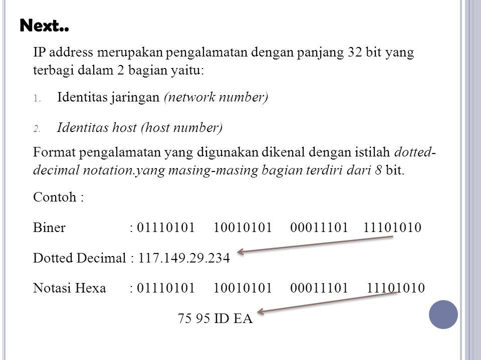 IP address merupakan pengalamatan dengan panjang 32 bit yang terbagi dalam 2 bagian yaitu: 1. Identitas jaringan (network number) 2. Identitas host (h