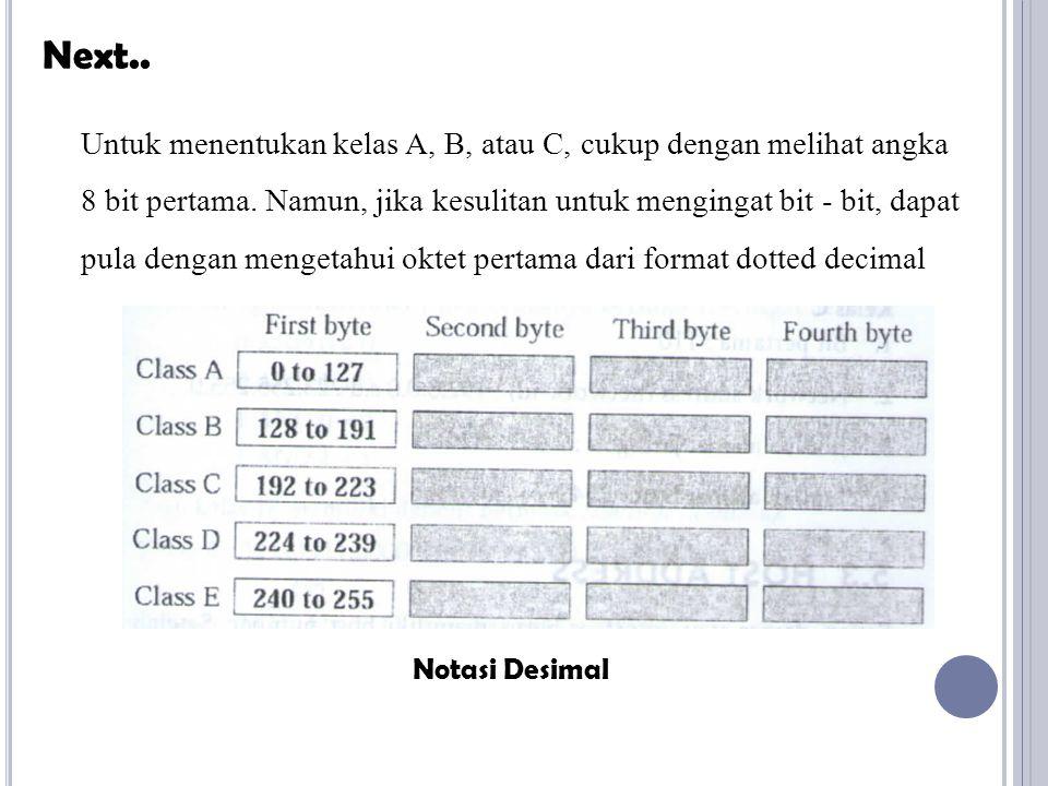 Next.. Notasi Desimal Untuk menentukan kelas A, B, atau C, cukup dengan melihat angka 8 bit pertama. Namun, jika kesulitan untuk mengingat bit - bit,