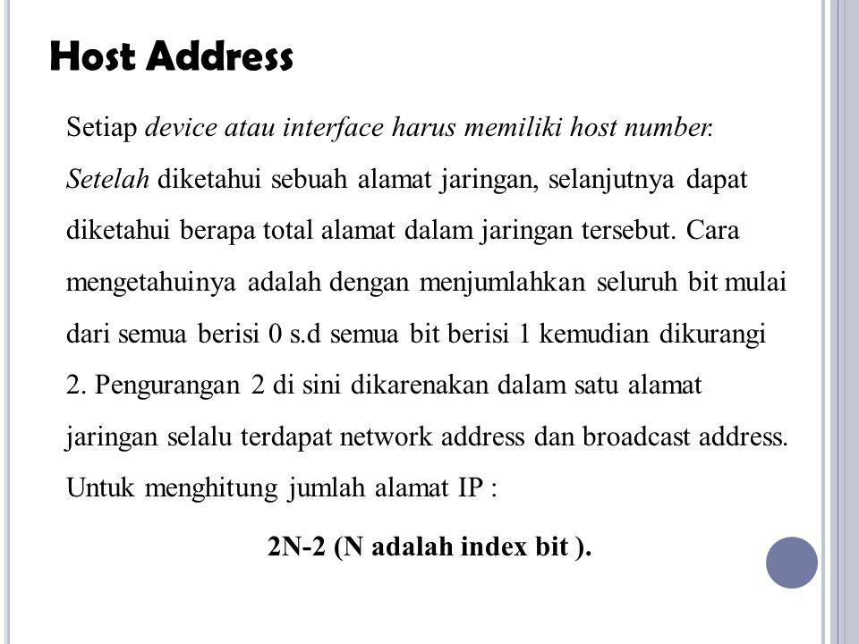 Setiap device atau interface harus memiliki host number. Setelah diketahui sebuah alamat jaringan, selanjutnya dapat diketahui berapa total alamat dal
