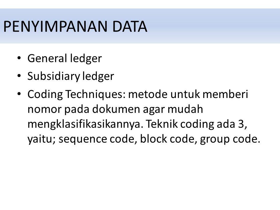 PENYIMPANAN DATA General ledger Subsidiary ledger Coding Techniques: metode untuk memberi nomor pada dokumen agar mudah mengklasifikasikannya.