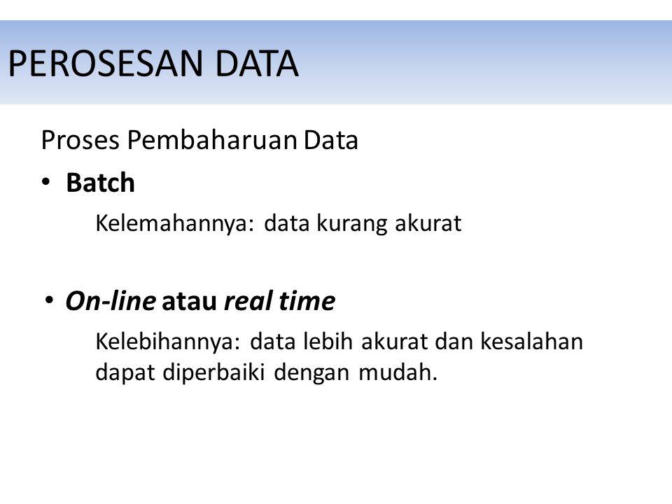 PEROSESAN DATA Proses Pembaharuan Data Batch Kelemahannya: data kurang akurat On-line atau real time Kelebihannya: data lebih akurat dan kesalahan dapat diperbaiki dengan mudah.