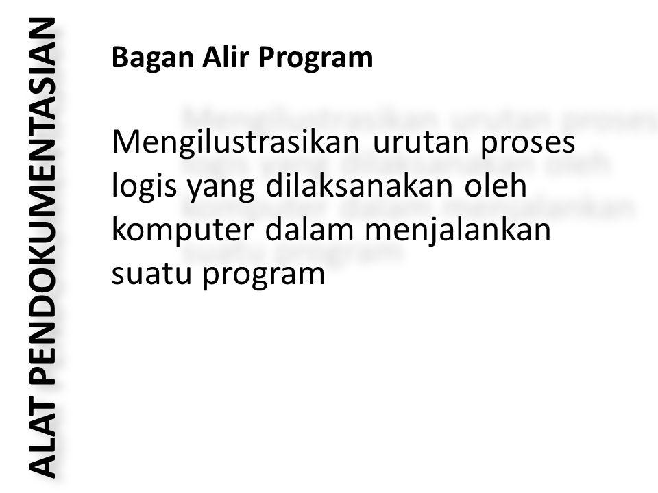 ALAT PENDOKUMENTASIAN Bagan Alir Program Mengilustrasikan urutan proses logis yang dilaksanakan oleh komputer dalam menjalankan suatu program