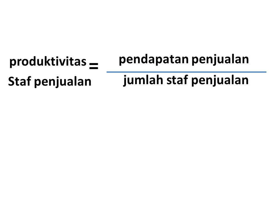 pendapatan penjualan jumlah staf penjualan produktivitas Staf penjualan =