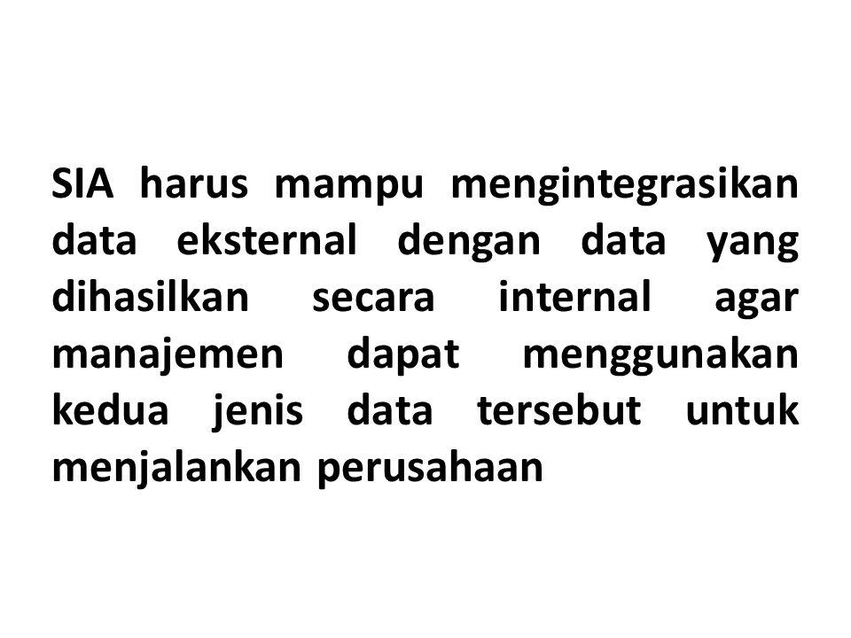 SIA harus mampu mengintegrasikan data eksternal dengan data yang dihasilkan secara internal agar manajemen dapat menggunakan kedua jenis data tersebut untuk menjalankan perusahaan