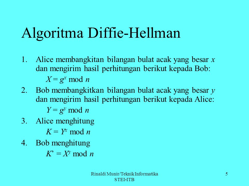 Rinaldi Munir/Teknik Informatika STEI-ITB 5 Algoritma Diffie-Hellman 1.Alice membangkitan bilangan bulat acak yang besar x dan mengirim hasil perhitun