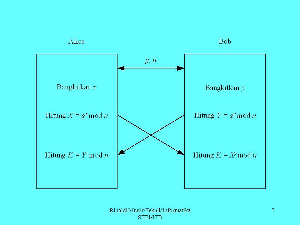 8 Contoh: Alice dan Bob menyepakati n = 97 dan g = 5 ( g < n) 1.Alice memilih x = 36 dan menghitung X = g x mod n = 5 36 mod 97 = 50 Alice mengirimkan X kepada Bob.