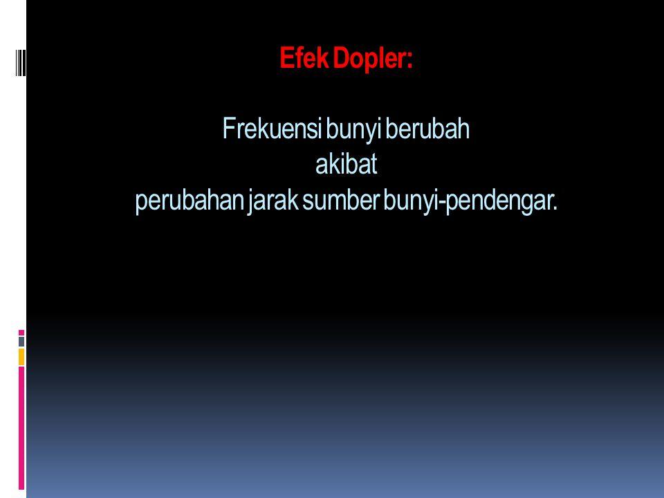 Efek Dopler: Frekuensi bunyi berubah akibat perubahan jarak sumber bunyi-pendengar.