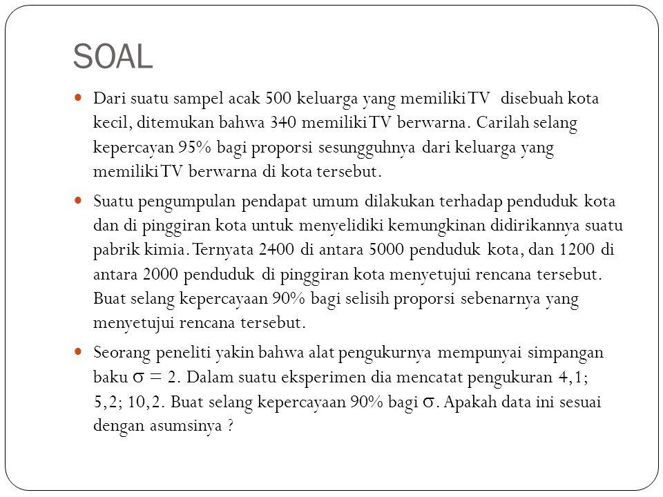 SOAL Dari suatu sampel acak 500 keluarga yang memiliki TV disebuah kota kecil, ditemukan bahwa 340 memiliki TV berwarna.