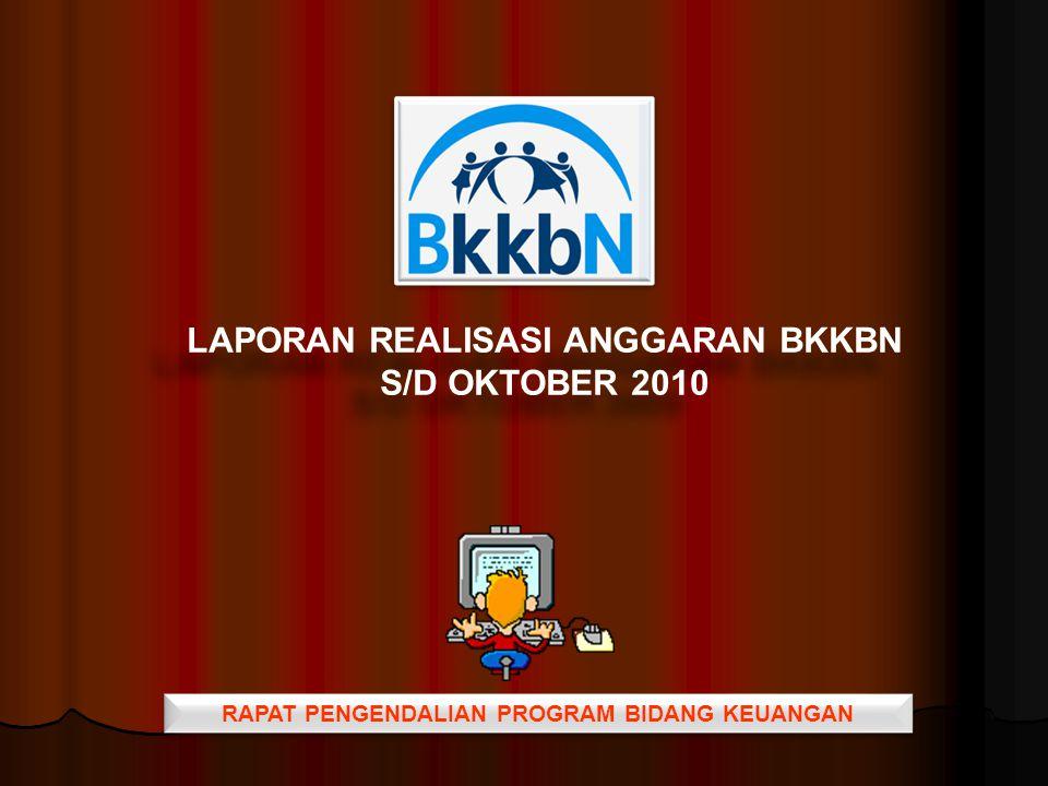 RAPAT PENGENDALIAN PROGRAM BIDANG KEUANGAN LAPORAN REALISASI ANGGARAN BKKBN S/D OKTOBER 2010