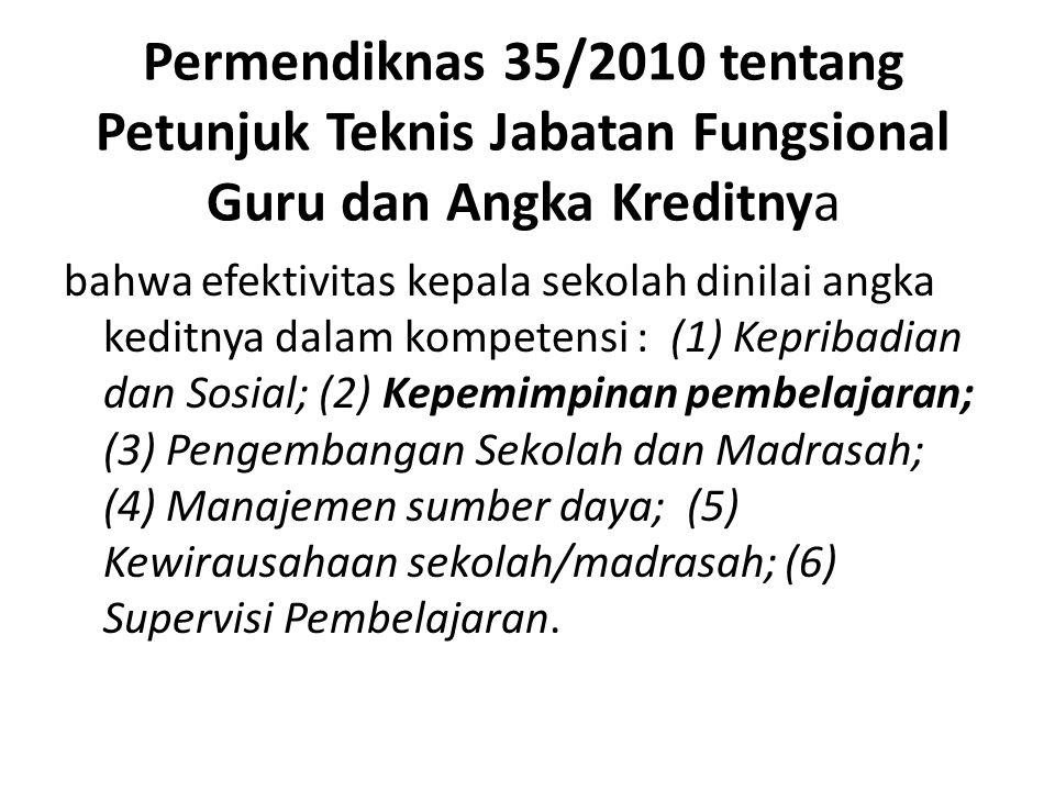 Permendiknas 35/2010 tentang Petunjuk Teknis Jabatan Fungsional Guru dan Angka Kreditnya bahwa efektivitas kepala sekolah dinilai angka keditnya dalam kompetensi : (1) Kepribadian dan Sosial; (2) Kepemimpinan pembelajaran; (3) Pengembangan Sekolah dan Madrasah; (4) Manajemen sumber daya; (5) Kewirausahaan sekolah/madrasah; (6) Supervisi Pembelajaran.