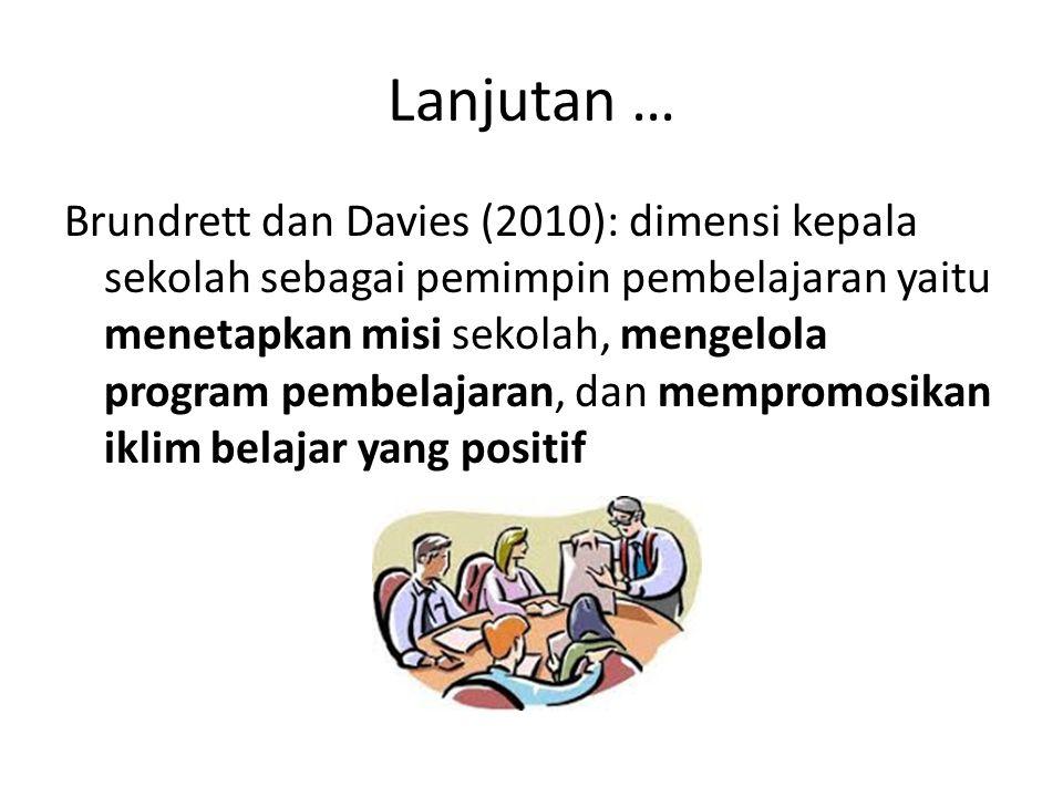 Lanjutan … Brundrett dan Davies (2010): dimensi kepala sekolah sebagai pemimpin pembelajaran yaitu menetapkan misi sekolah, mengelola program pembelajaran, dan mempromosikan iklim belajar yang positif