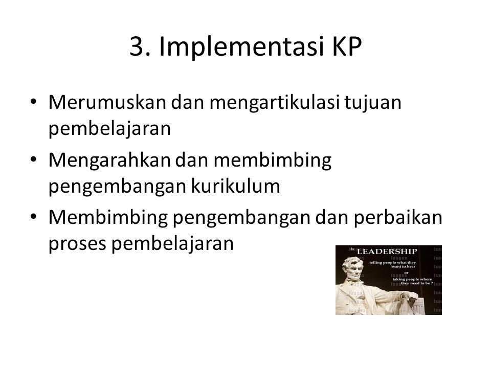 3. Implementasi KP Merumuskan dan mengartikulasi tujuan pembelajaran Mengarahkan dan membimbing pengembangan kurikulum Membimbing pengembangan dan per