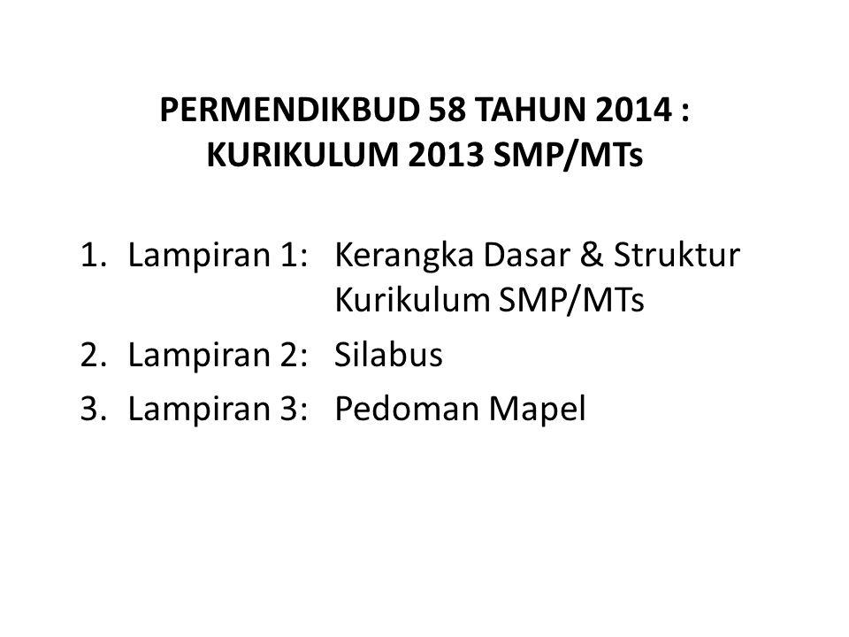 PERMENDIKBUD 58 TAHUN 2014 : KURIKULUM 2013 SMP/MTs 1.Lampiran 1: Kerangka Dasar & Struktur Kurikulum SMP/MTs 2.Lampiran 2: Silabus 3.Lampiran 3: Pedoman Mapel