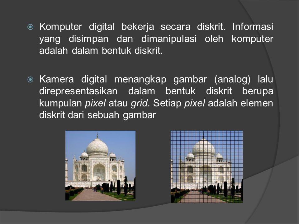  Komputer digital bekerja secara diskrit.