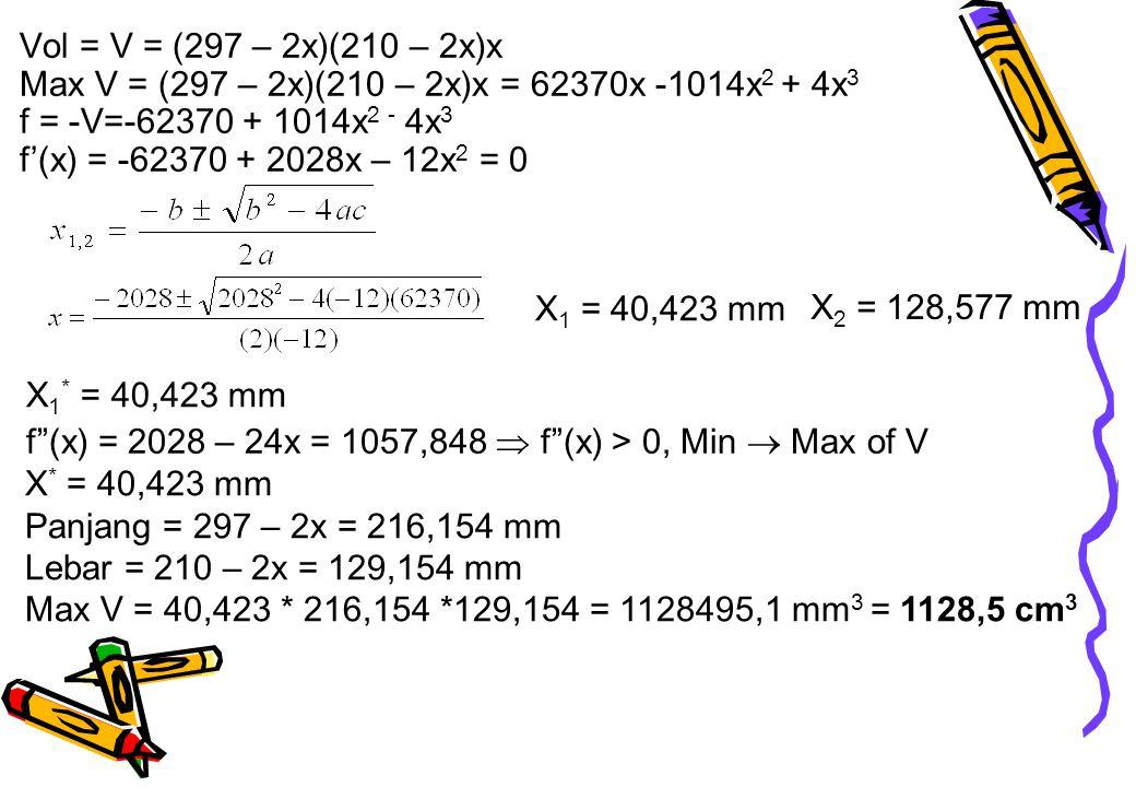 Vol = V = (297 – 2x)(210 – 2x)x Max V = (297 – 2x)(210 – 2x)x = 62370x -1014x 2 + 4x 3 f = -V=-62370 + 1014x 2 - 4x 3 f'(x) = -62370 + 2028x – 12x 2 =