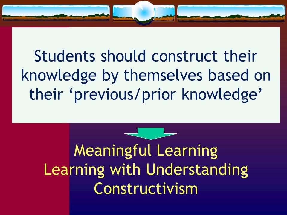Bil (23.571.113) dan (31.117.532) bermakna karena berkait dgn 6 bil prima pertama (2, 3, 5, 7, 11, 13) Siswa hrs belajar secara bermakna, dapat mengaitkan pengetahuan yang baru dengan pengeth yg lama Faktor yang paling menentukan pada proses pembelajaran adalah apa yang sudah diketahui siswa Pentingnya Belajar Bermakna