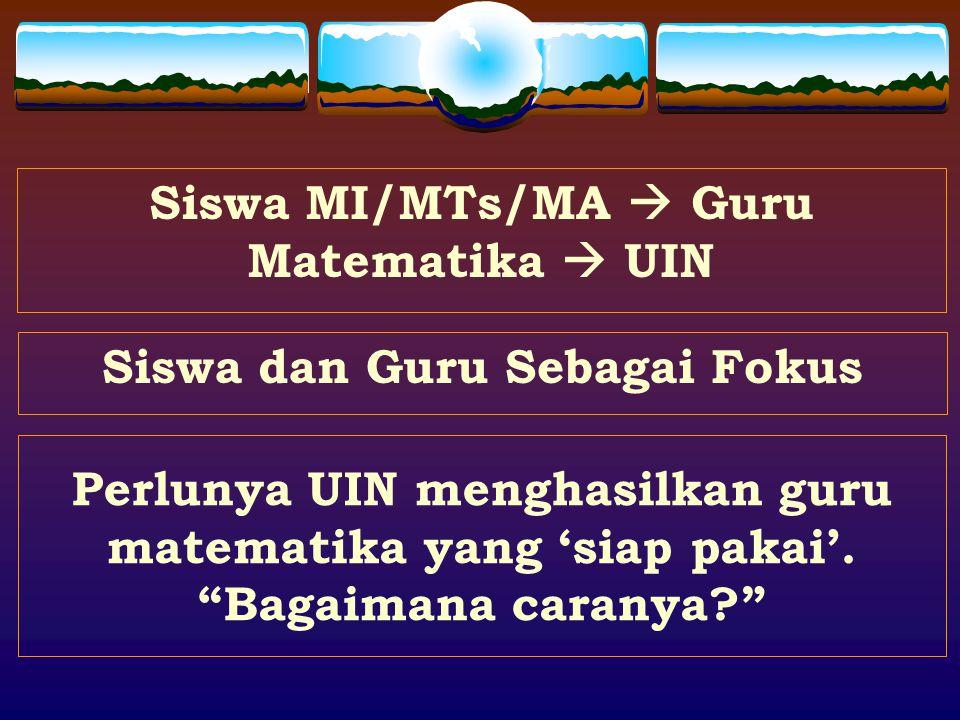 Siswa MI/MTs/MA  Guru Matematika  UIN Siswa dan Guru Sebagai Fokus Perlunya UIN menghasilkan guru matematika yang 'siap pakai'.