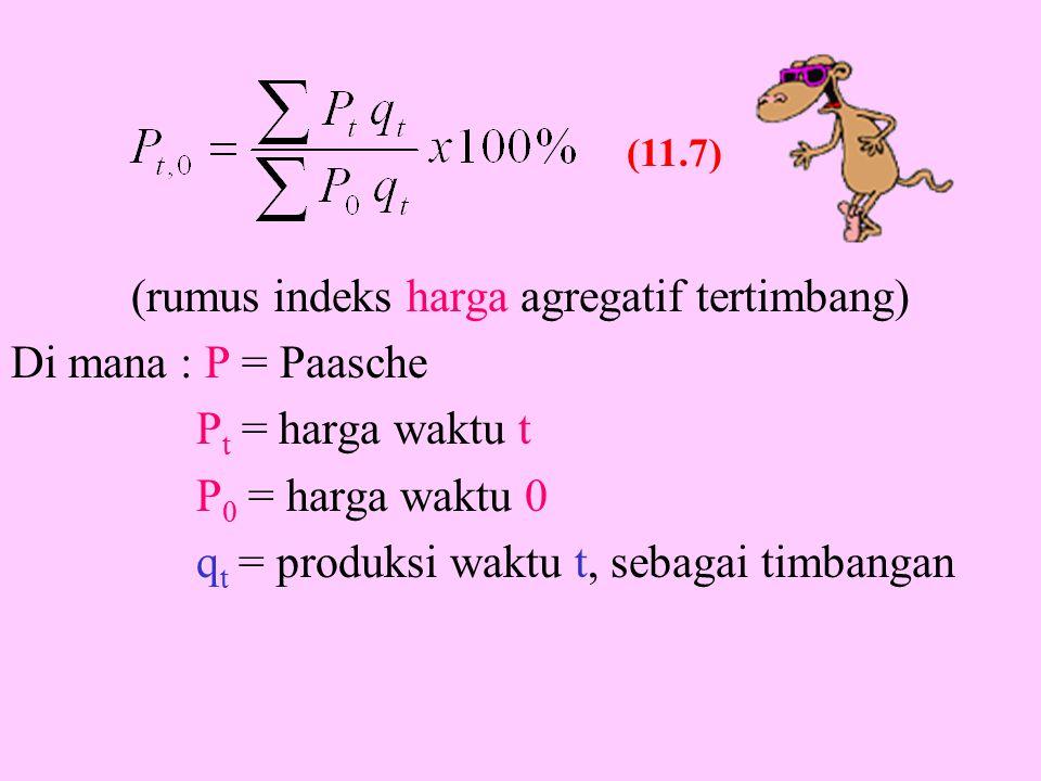 (rumus indeks harga agregatif tertimbang) Di mana : P = Paasche P t = harga waktu t P 0 = harga waktu 0 q t = produksi waktu t, sebagai timbangan (11.7)